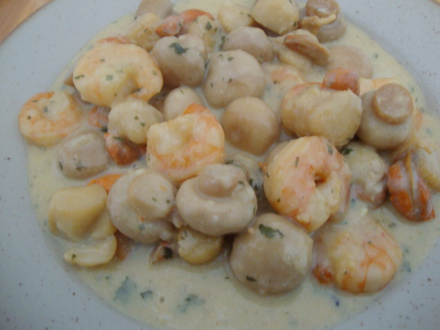 gambas et st jacques au curry